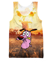 Women Men 3d Courage the Cowardly Dog Tank Top Summer Style Cartoon Shirts Fashion Clothing Plus Size Vest Jersey