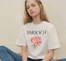 2017 Fashion Girl Cotton T shirt Women White Summer Fall Print Red Rose and Letter Smooch Casual Tops Lees Floral Vest(China)