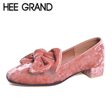 HEE GRAND Bowtie Brogue Shoes Woman 2017 New Oxfords Velvet Slip On High Heels Casual Platform Women Shoes Size 35-40 XWD5186(China)