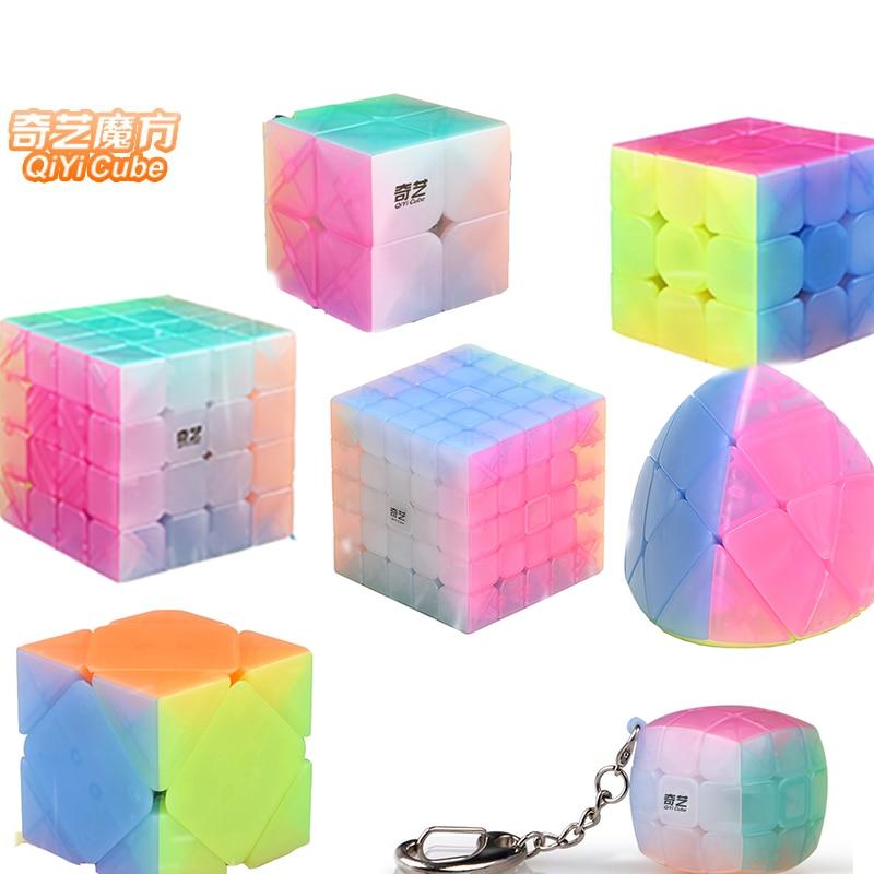 Multi-Shape QiYi Magic Cube 2x2 3x3x3 4x4x4 5x5x5 Twist Puzzle Toys Jelly colors