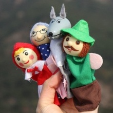 4Pcs/Set Finger Dolls  Wolf Fairy Story Play Game Christmas Story Finger Puppets Toys Set