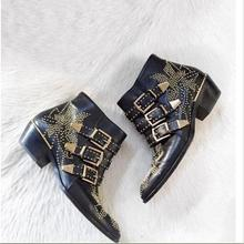 New Leather woman bots Thick Heel Black Ankle Boots Studded Decorated Motorcycle Boots Woman Riding boots free shipping