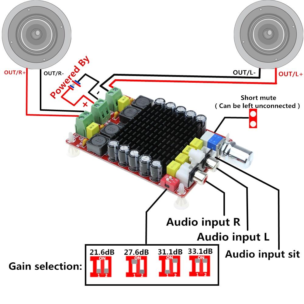 Audio Amplifier Board TDA7498 Digital Power Amplifier Board Built-in Fan 2/×100W Immersion Class D DC 9-34V Amplify DIY Circuit Module Protective Shell