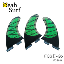 FCS2 Fins Green Carbon Fibre Surf Fin FCSII Fin G5 Good Quality Surfboard FCS 2 Honeycomb Fins