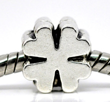 DoreenBeads 2016 Hot Jewelry antique silver Zinc Alloy Four Leaf Clover Charm Beads Fit European Charm 10x9mm, 30 Pcs