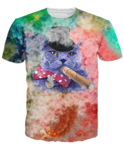 Cigar Cat T-Shirt Fancy Fat Cat Smoking A Cigar In Colorful Swirl 3d Print Summer T Shirt Fat Cat T-Shirt Tops Tee For Women Men
