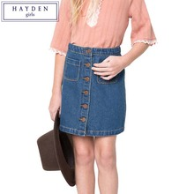 HAYDEN Girls Jean Skirts Knee Length A Line Jeans Button Up Skirt for Teenage Girls Age 7 to 14 Years Brand Designer Clothes(China)