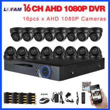 LOFAM 16CH CCTV System Kit AHD-H 1080P DVR Dome indoor 2.0mp hd Cameras with IR CUT Home Surveillance System 16 Channel DVR Kit