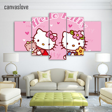 HD Printed Cartoon hello kitty Group Painting wall art Canvas Print room decor print poster picture canvas/ny-181