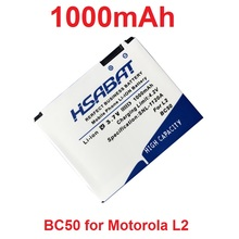 HSABAT 1000mAh BC50 Battery for Motorola L6 L6i L6g L7 L7C K1 K2 R1 Z1 Z3 E8 L2(China)