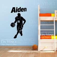 Basketball Player Vinyl Wall Decal Personalized Custom Boy Name Basketball Sport Art Wall Sticker Bedroom Home Decoration(China)