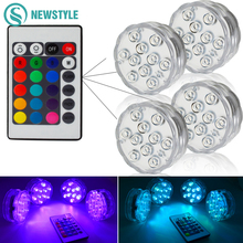 RGB Submersible LED Underwater Light 10leds Battery Operated IP67 Waterproof Lamp Swimming Pool Light For Wedding Celebration(China)