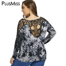 PlusMiss Plus Size 5XL Tie Dye Lace Crochet Backless Cold Shoulder Top Long Sleeve Open Back Blouse Women Clothing Large Size(China)
