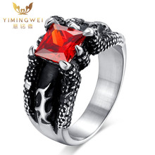 [YMW]Cool Punk men wedding rings stainless steel red Big stone rings for men jewelry with red stone Dragon claws inlayed design(China)