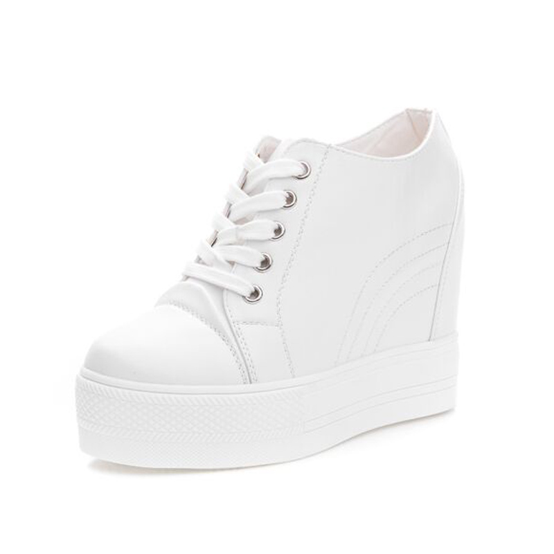 The increase in female 10 cm Stealth thick soled Platform Shoes with white shoes Casual shoes Korean Lace-Up 2017 new spring<br><br>Aliexpress