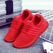 2017 No Logo Breathable Casual Shoes Summer Red Unisex Shoes For Lover Chaussure Homme Mesh Zapatos Mujer Men Shoes Dropship