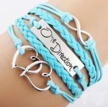 Hot Sales One Direction Fashion Women Infinity Bracelet Love Heart Hand-knitted Leather Charms Bracelet(China)