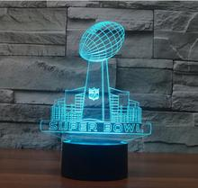 Super Bowl 3D Table Lamp Home Deco Rugby union Cup Night Light Luminaria Micro USB Lamp Soccer Fans Creative Gift touch switch