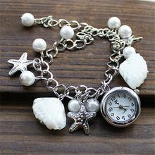 Women Geneva Faux Pearl Shell Chain Bracelet Wrist Analog Quartz Dial Watch Jewelry & Watches Fashion Accessories