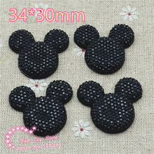 black mickey 34*30mm 30pcs resin flat back cabochon for hair bow center scrapbooking(China)