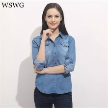2017 Women New Denim Shirt Euro Style Slim Blouse With Two Pockets Button Turn-down Collar Long Sleeve Tops 4 Season 60612