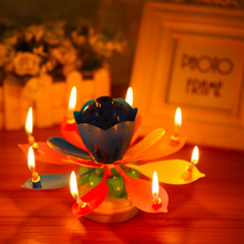 1pcs Lotus Flower Candle Birthday Party Cake Music Sparkle Rotating Candles Decoration Cake Birthday