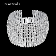 Buy Mecresh Crystal Bridal Bracelets Women Silver Color Rhinestone Link Bridesmaid Pulseira 2017 Wedding Jewelry SL145 for $6.15 in AliExpress store