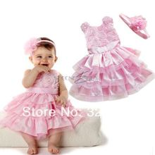 High quality New Rose Garden Pink Rosette Silk Dress Easter Flower Baby Girl Wedding New with free headband Summer Style(China)