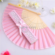 Free Shipping 300pcs Luxurious Silk Fan Wedding Gifts novelty wedding decoration soap bubble wedding favors(China)