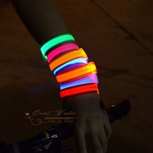Party Decoration Glowing Bracelet LED Lights Flash Wristband Ring Nocturnal Warning Band Running Gear Glowing Rave 10pcs/lot