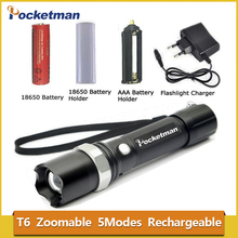 High Power CREE XML-T6 5 Modes Flashlight 3800 Lumens LED Flashlight Waterproof Zoomable Torch lights 18650 or AAA battery z88(China)