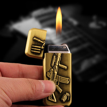 Relief submachine gun Smoking Cigarette Lighter Creative Individuality Flame Inflating Lighter(China)