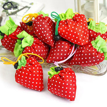ISKYBOB Hot Eco Storage Handbag Strawberry Foldable Shopping Bags Reusable Folding Grocery Nylon Large Bag Random Color(China)