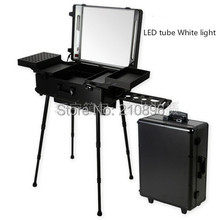 LED Tube White Light BLACK Professional Aluminum trolley Cosmetic case with Station LED Lighted cosmetic Box