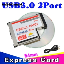 kebidumei Dual 2 Ports USB 3.0 PCI Express Card Adapter 5Gbps HUB PCI 54mm Slot ExpressCard PCMCIA Converter For Laptop Notebook(China)