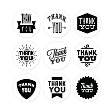 45PCS/5sheets New DIY THANK YOU Label Kraft Sticker Paper Seal Cooking Packaging stickers Black+White
