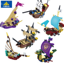 KAZI 6Pcs/set Pirates Ghost Ship Educational Construction Building Blocks Toys For Children Compatible All Brand City Toys