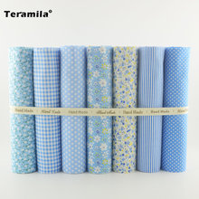 Different Patterns 7pcs Blue Color Cotton Fabric Tildas Clothing Materials for Beginner's Practice Sewing Dolls Patchwork Crafts(China)