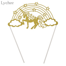 Lychee 1pc Hollow Unicorn Rainbow Cake Topper Wedding Birthday Party Dessert Baking Cake Decorating Supplies(China)