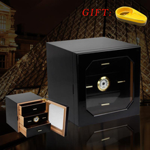 GALINER Black cabinet cigar humidor high-quality multiple lacquer finish cedar wood 3 cigarette storage box case lighter(China)