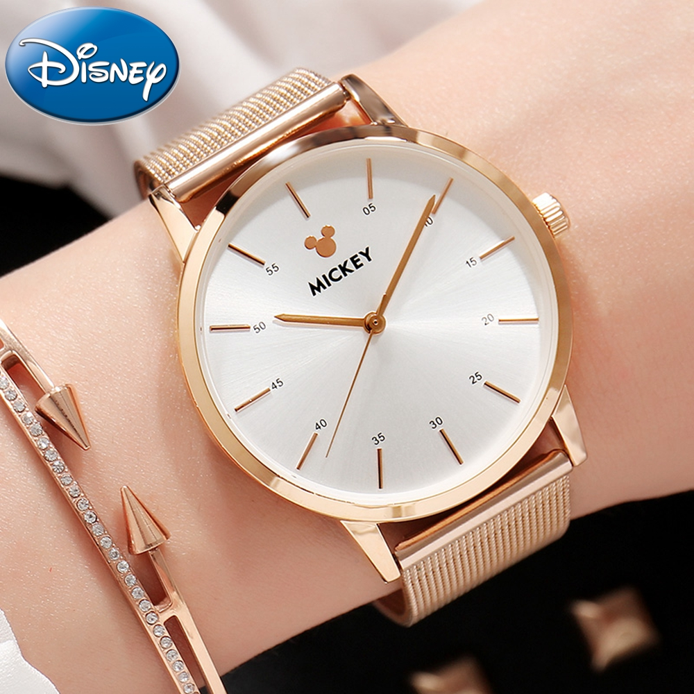 New Original Disney Ladies Rose Gold Waterproof Full Steel Round Simple Fashion Mickey Watch Girl Luxury Best Gift High Quality<br>