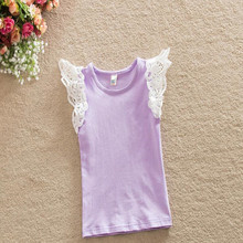 Vintage Baby Girls Clothes Ruffles Sleeve Baby Singlet Top Knit cotton Summer Kids Tees Lace Sleeve Toddler Girls top(China)
