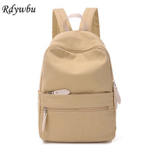 Rdywbu New Design Upgrades Korean Style Pure Candy Color Canvas Women Bag College Student School Book Bag Leisure Backpack B420