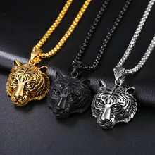 2017 Stainless Steel 60CM Men Pendant Necklace Of Animal Tiger Exterior Men Necklace ag11(China)