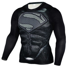 New 2017 Fitness MMA Compression Shirt Men Long Sleeve Superman 3D Printed T-shirt Superhero Brand Clothing Marvel T shirts Tops(China)