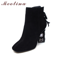 Meotina Crystal High Heel Boots Genuine Leather Women Boots Bow Winter High Heels Shoes Black Big Size 34-43 Suede Leather Boots(China)