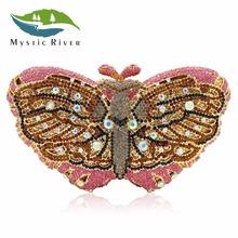 Mystic River Women Butterfly Shape Luxury Crystal Evening Bag Sisters Party Clutches Purses Wedding Pink Clutch(China)