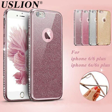 USLION Electroplating Rhinestone Phone Case for iphone 6 6s 6 plus 6s plus 7 Plus Diamonds Cases Soft TPU Protective Back Cover(China)