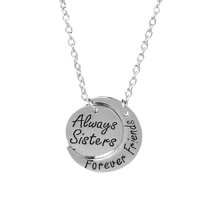 'Always Sisters Forever Friends ' Name Carved Stone Pendant Necklace 2017 Moon Star Statement Necklace New Year Gift Girls