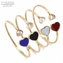 FYSARA Luxury Brand Austrian Crystal Bangle & Bracelet for Women Jewelry Colorful Love Heart Bangles Rose Charm Cuff Pulserias(China)